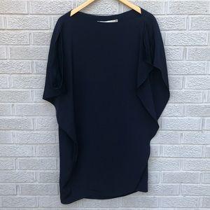 Tish Cox Silk Asymmetrical Ruffle Mini Dress